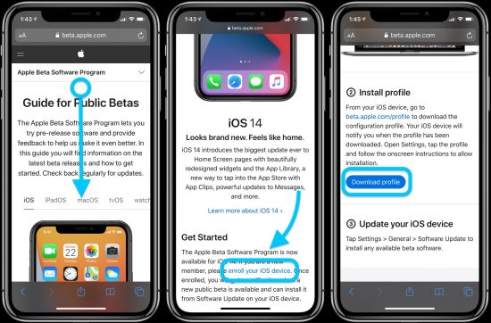 iOS Versi beta